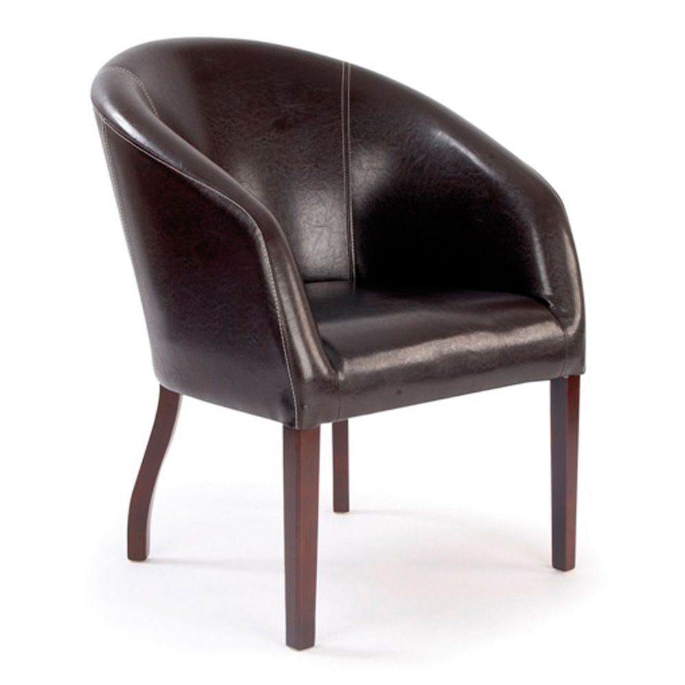 Metro Curved Armchair Upholstered, Wooden Legs in Chocolate Brown Leather Effect